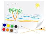 рисование лето — Cтоковый вектор