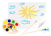 Drawing sun — Vector de stock