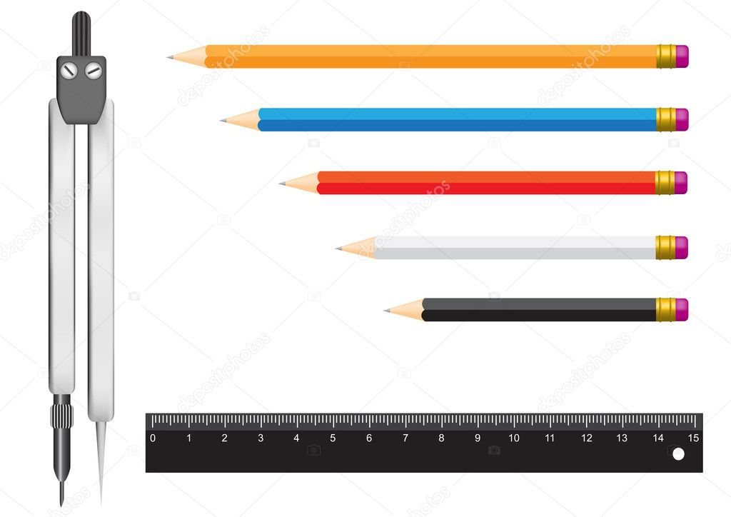 The tools isolated on a white background for geometry. Pencils, a ruler and a compasses — Stock Vector #1492873