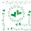 Stock Vector: Green heart decoration