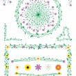 Vector de stock : Stalk and flowers decorations