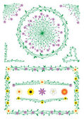 Stalk and flowers decorations — Vector de stock