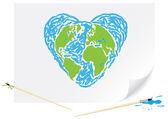 Ritning grön jord blå hjärta — Stockvektor