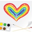 Drawing rainbow heart — Stock Vector