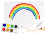 Drawing rainbow — Stock Vector