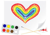 Drawing rainbow heart — Stok Vektör