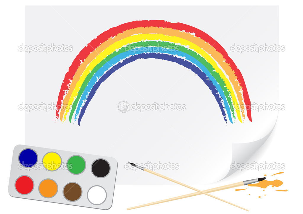 Children drawing of a rainbow a brush paints on a paper — Stock Vector #2086394