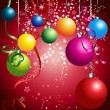 Red card with colorful christmas balls — Vector de stock