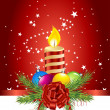 Royalty-Free Stock Imagen vectorial: Red card with christmas ball and candle