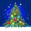 Blue card with colorful christmas tree — 图库矢量图片