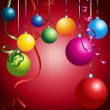 Red card with colorful christmas balls - Stock Vector