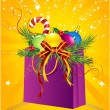 Christmas gift bag, ball, holly — Image vectorielle