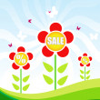 Royalty-Free Stock Vector Image: Sale tag with a beautiful red flowers