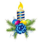 Pino, vela y bola de navidad — Vector de stock