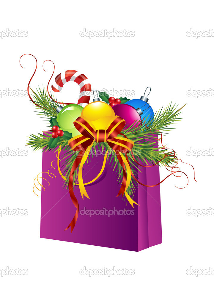 Christmas gift bag, ball, holly, cane, pine, ribbon isolated on white. Christmas ornament  — Stock Vector #1357401