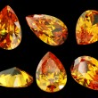 Six gems isolated on a black background — Stock Photo