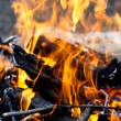 Wood burns on fire — Stock Photo