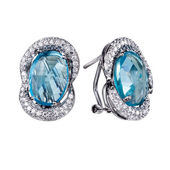 Earrings with gemstones — Stock Photo