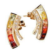 Earrings with colorful zircon — Stock Photo