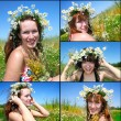 Beautiful girl in the wreath of daisies - Stock Photo