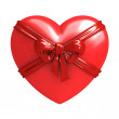 Red heart with ribbon isolated — Stock Photo