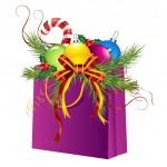 Christmas gift bag — Stock Photo
