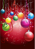Red card with colorful christmas balls — Stock Photo