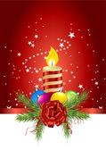Colorful christmas ball, candle and pine — Stock Photo