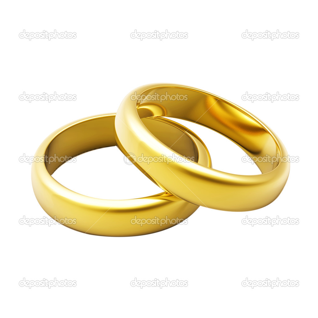 3d gold wedding ring isolated on white background — Stock Photo #1571824