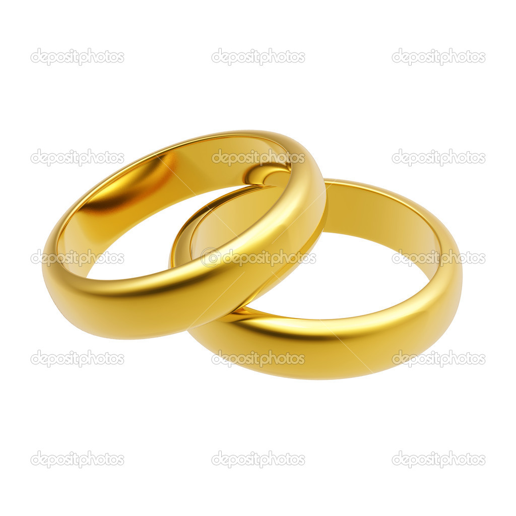 3d gold wedding ring isolated on white background — Stock Photo #1571825