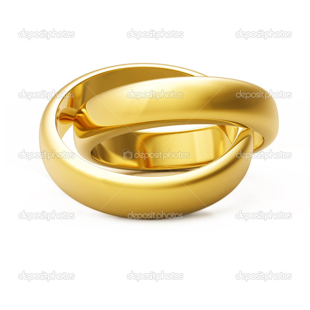 3d gold wedding ring isolated on white background — Stock Photo #1571830