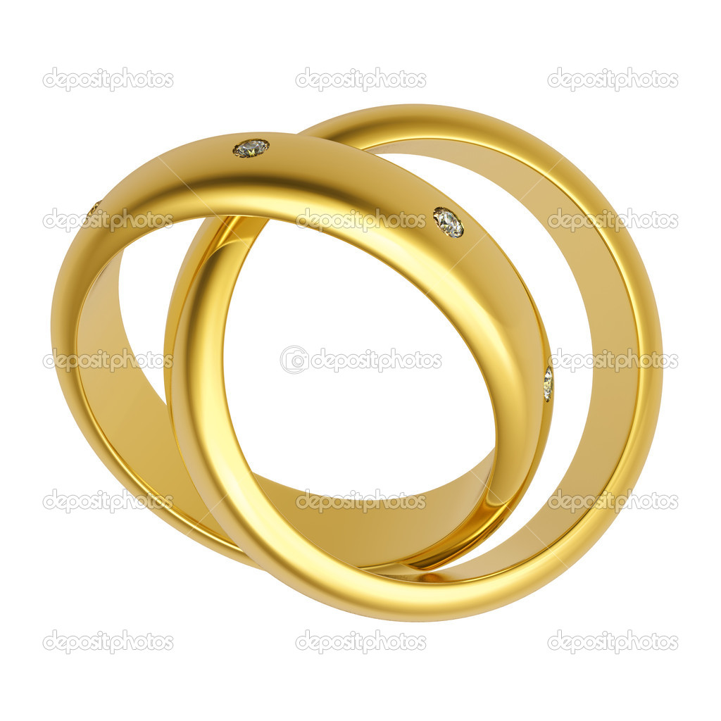 3d gold wedding ring isolated on white background — Stock Photo #1571835