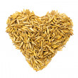 Golden grains wheat in the form of a hea — Stock Photo