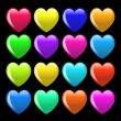 Set of colorful cartoon heart — 图库照片