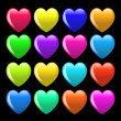 Set of colorful cartoon heart - Stock Photo