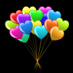 Colorful cartoon heart balloons — Stock Photo