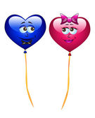 Colorful cartoon heart balloons — Stock Photo