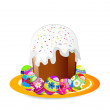 Easter chocolate cake with eggs — Stock Photo