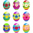 Stock Photo: Easter eggs with spring flowers pattern