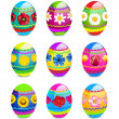 Easter eggs with spring flowers pattern — Stock Photo