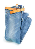 Blue Jeans with leather belt — Stock Photo