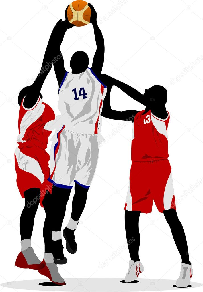 Basketball players. Vector illustration — Stock Vector #1093293