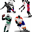 Four kinds of team sport game. Vector il — Stockvectorbeeld