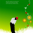 Summer green background with golfer imag — Stok Vektör