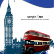 Stock Vector: Cover for brochure with London images. V