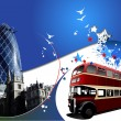 Vector de stock : Two London images on blue background. Ve