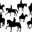 Royalty-Free Stock Vector Image: Eight  horse rider silhouettes