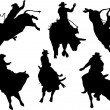 Six rodeo silhouettes. Vector illustrati - Stock Vector