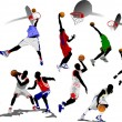 Basketball players. Vector illustration — Stock Vector