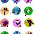 Winter sport silhouette icons. Vector il - Stock Vector